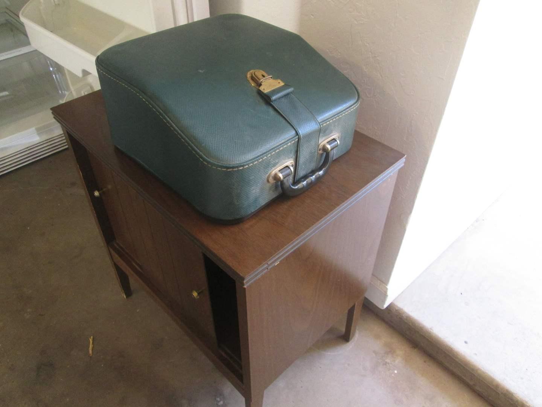 """Lot # 77 - """"Hermes 2000"""" Typewriter Grey, Green Keys & Case + Cabinet (main image)"""