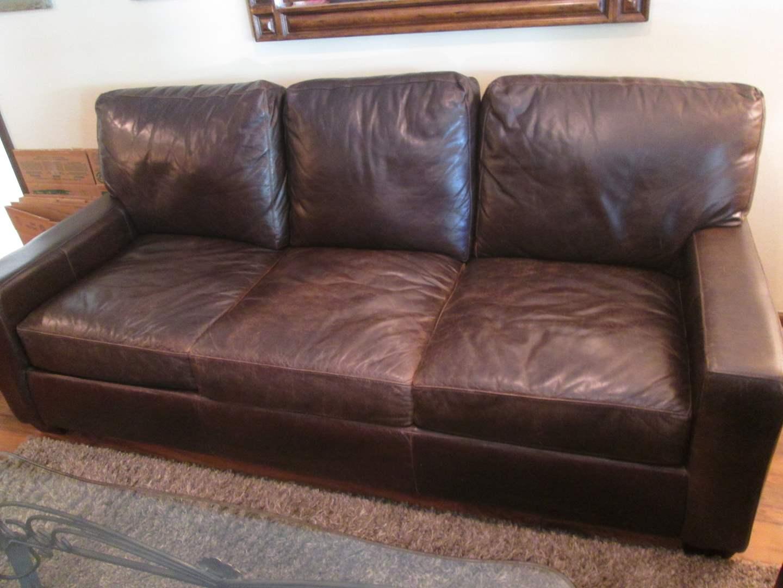 """Lot # 84 - 87"""" Leather Sofa (main image)"""