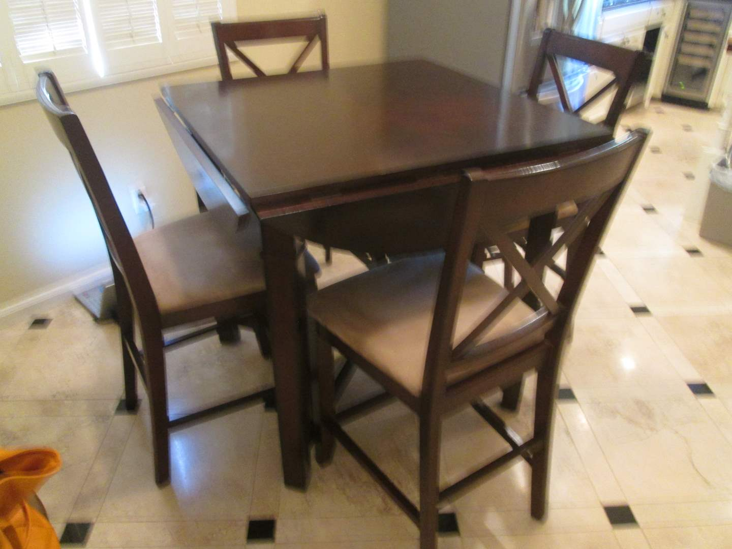 "Lot # 86-Pub Height Table & 4 Chairs, 38"" x 38"", with side leaves 52""D (main image)"