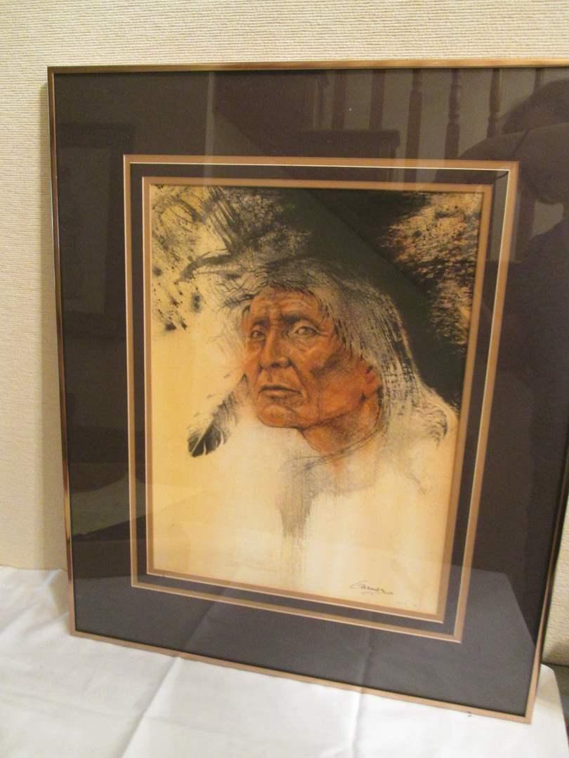 Lot # 94 - Pen & Ink Portrait by Garner, 1983 (main image)