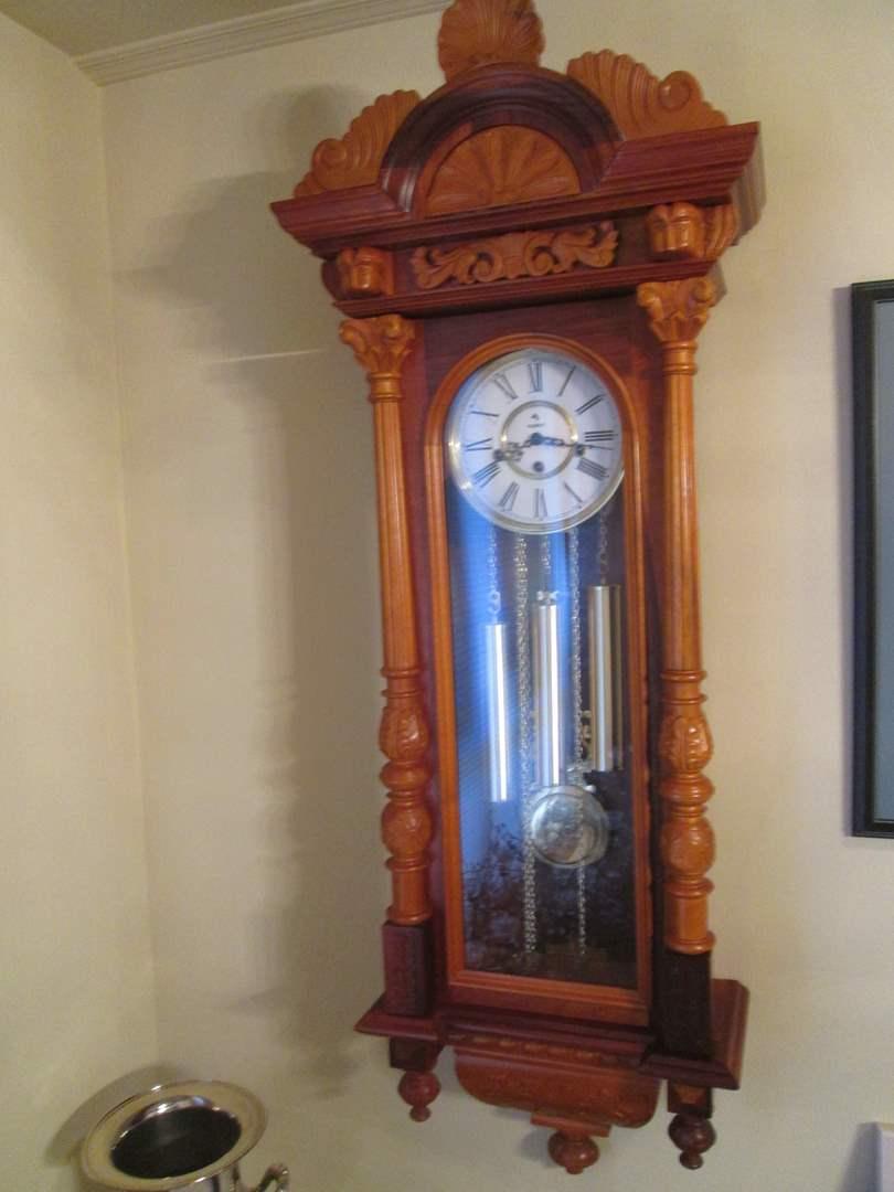 Lot # 98 - Parrot Wall Clock, Inside Restored. Works! (main image)