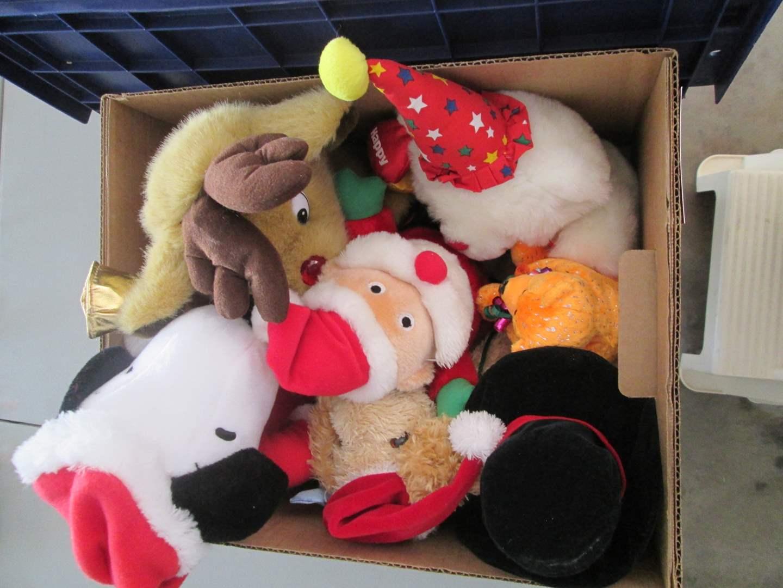 Lot # 121 - 2-Tarps, 1-Moving Blanket & Stuffed Animals (main image)