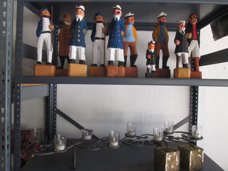 Lot # 138 - 10-Wood Sailor Statues + Candelabra (main image)