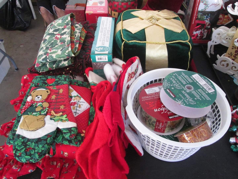 Lot # 144 - Christmas Ribbons + Decor Items (main image)