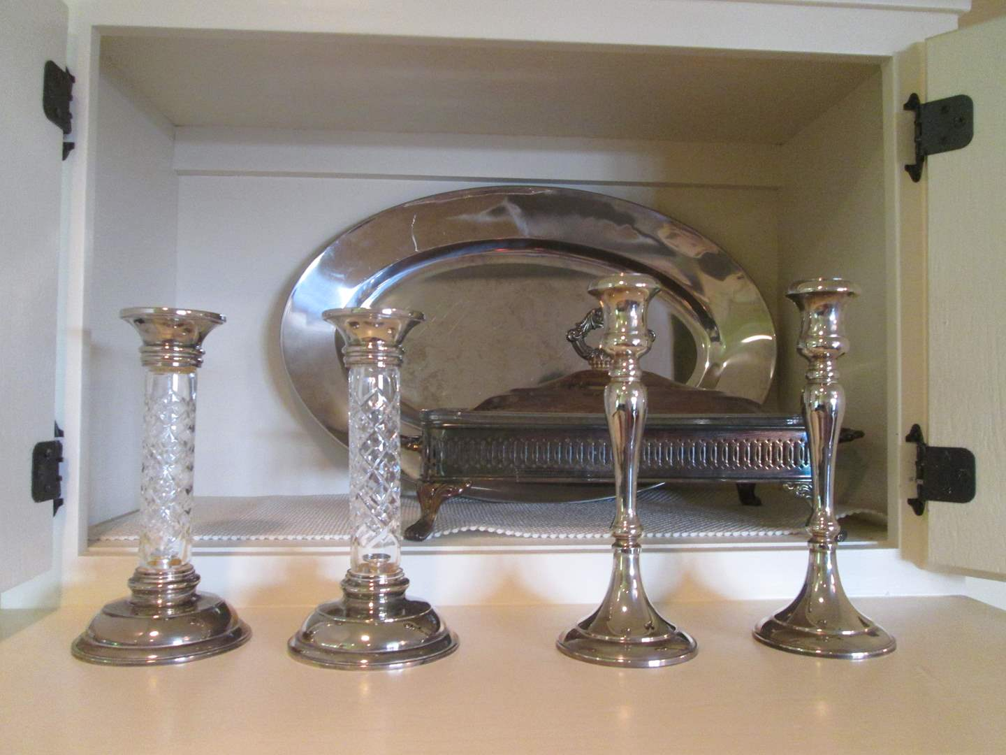 Lot # 181 - Silver Plate Serving Items & Candle Holders (main image)