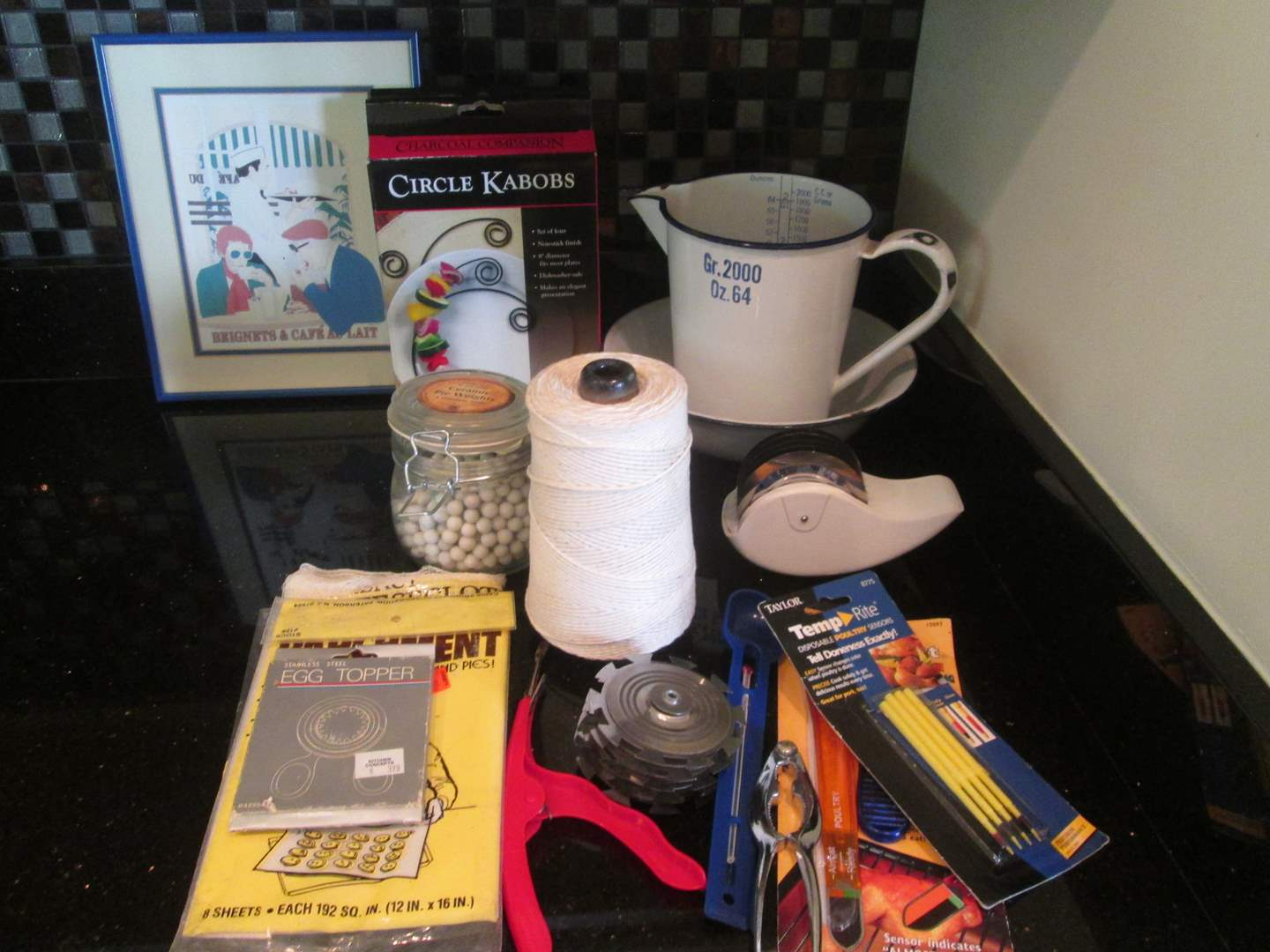Lot # 182 - Enamel Measuring Pot + Miscellaneous Items (main image)