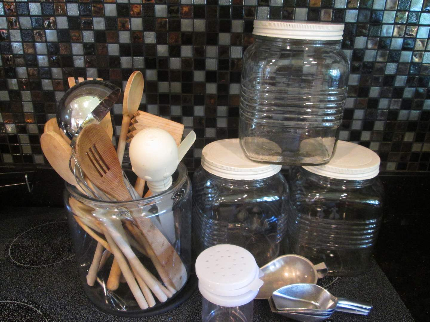 Lot # 189 - Glass Canisters + Utensils (main image)