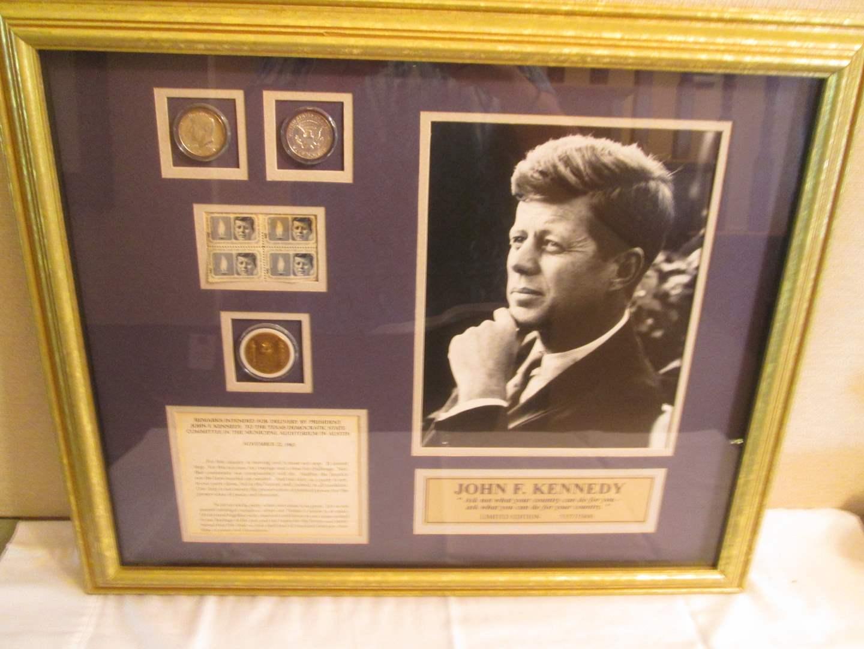 Lot # 200 - Framed Collage of John F. Kennedy Memorabilia (main image)