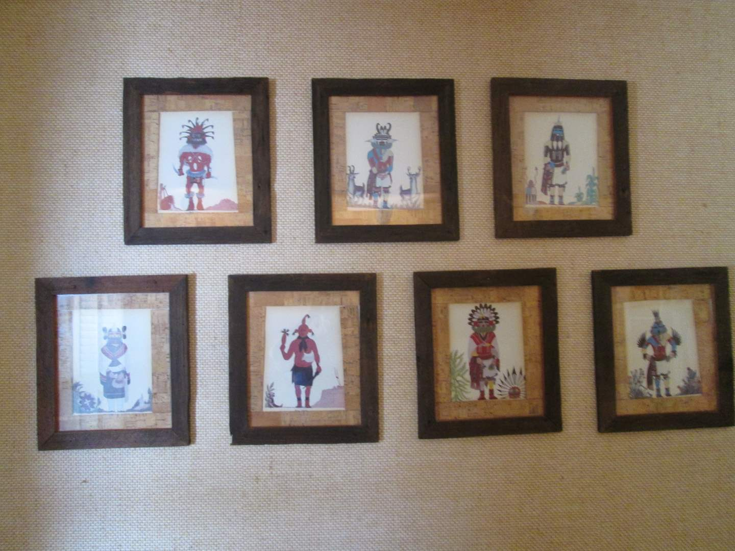 Lot # 202 - Series of 7 Framed & Matted Kachina Pictures by Bruce Timeche, Hopi Artist (main image)