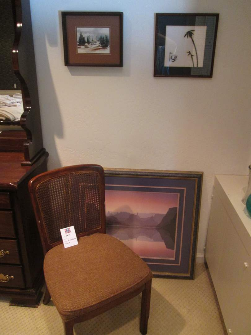 Lot # 247 - 3-Framed Pictures & Accent Chair with Cane Back (main image)