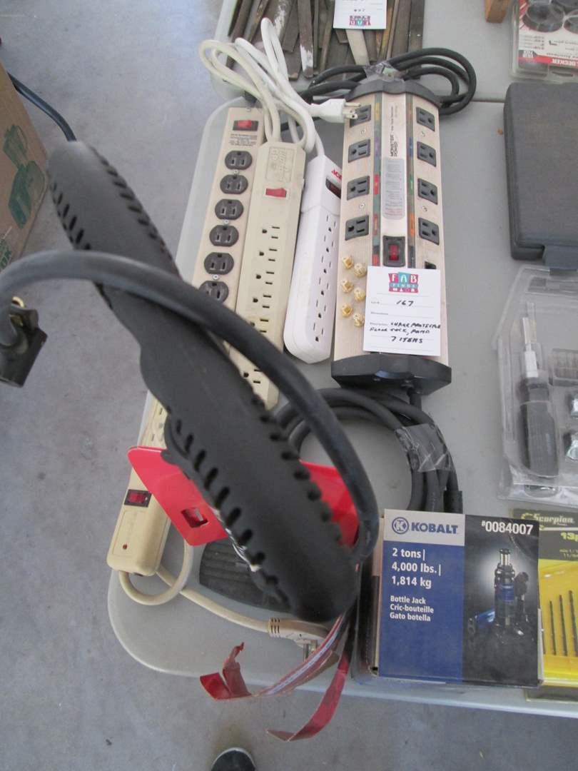 Lot # 167 - Surge Protectors, Floor Jack, Bike Pump, 7 Items (main image)