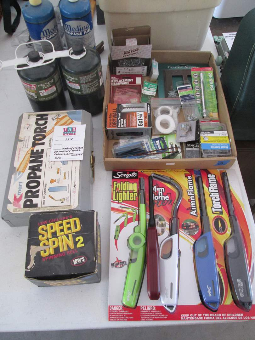Lot # 174 - Torch, Grill Lighters, Reel + Box of Misc. (main image)