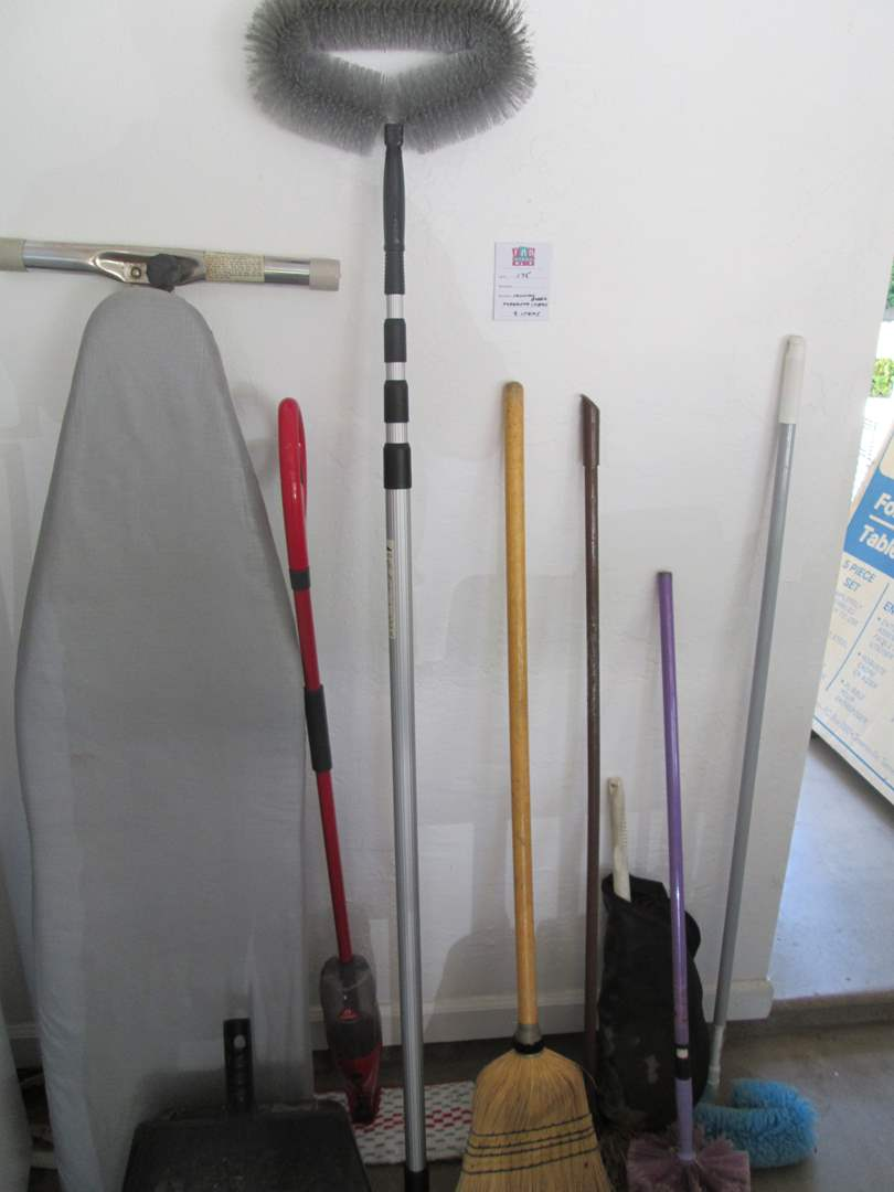 Lot # 175 - Ironing Board, Cleaning Supplies, 9 Items (main image)