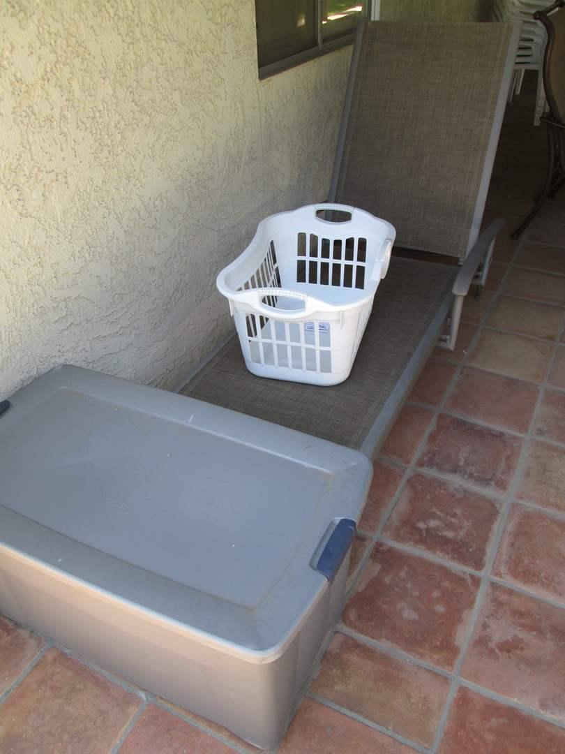 Lot # 218 - Chaise Lounge, Bin & Laundry Basket (main image)