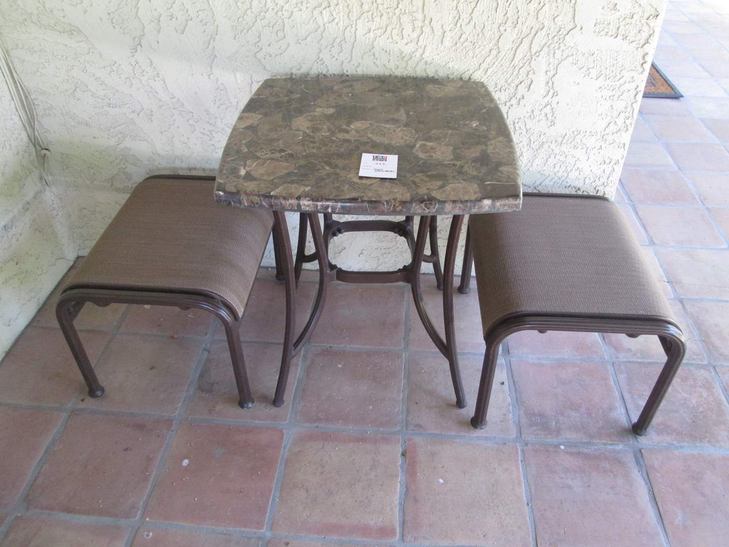 Lot # 222 - Patio Table with 2-Benches (main image)