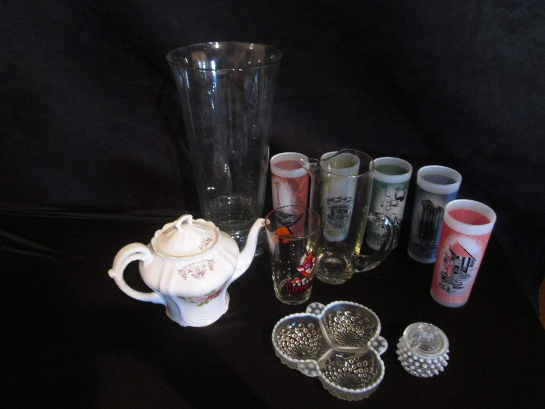 Lot # 286 - Tea Pot, Seattle World's Fair Glasses, Pitcher & Hobnail Serving Items (main image)