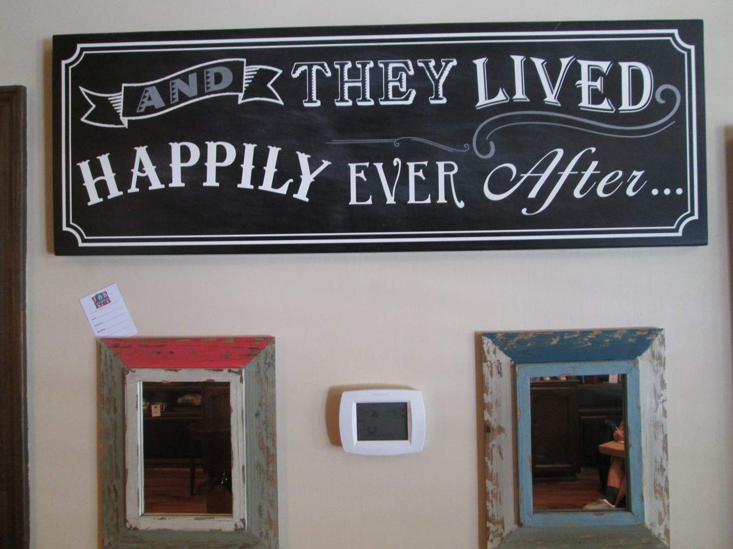 """Lot # 230 - 2-Framed Wall Mirrors & """"Happily Ever After"""" Sign (main image)"""