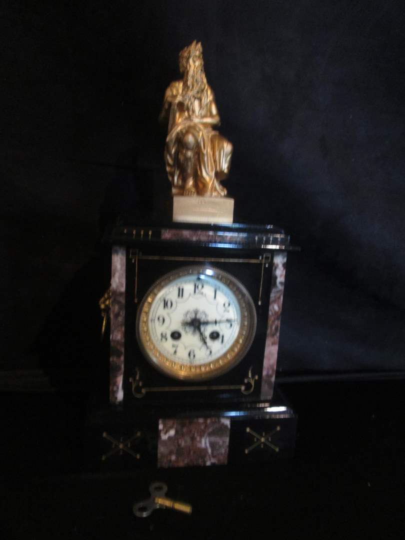 "Lot # 290 - Victorian ""Eastlake"" Mantle Clock, Marble Insets, Sculpture of Moses, Working! (main image)"