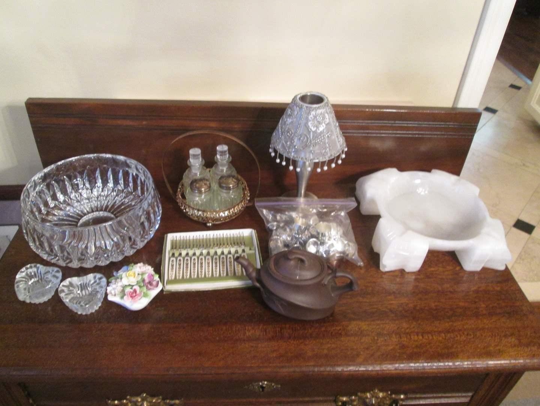Lot # 296 - Vintage Condiment Set, Serving Items & Onyx Ash Tray (main image)
