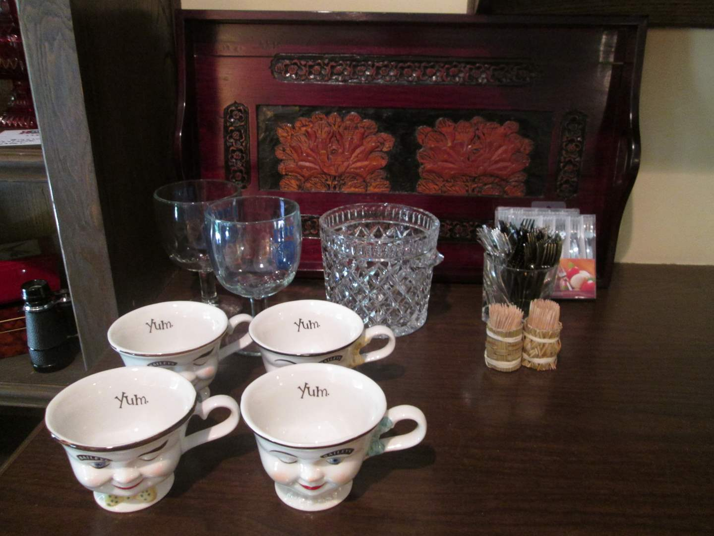 Lot # 234 - Red Carved Tray & Cups (main image)