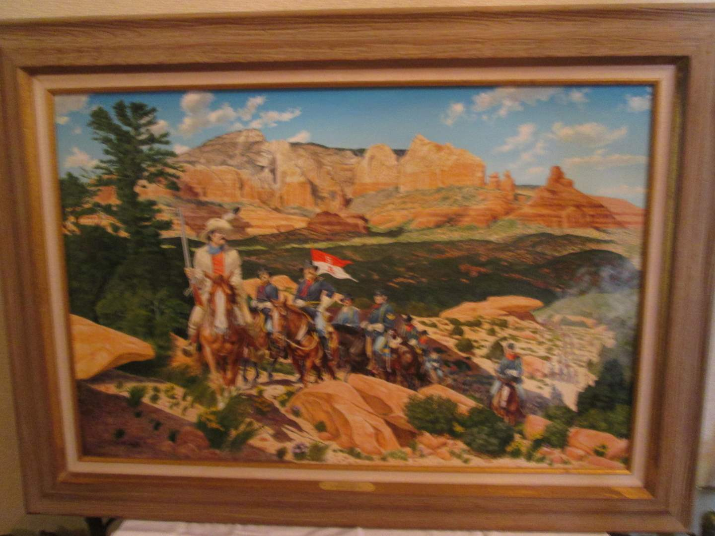 "Lot # 332 - Oil Painting ""5th Cavalry In Red Rock Country"" by Vic Roseberry (main image)"