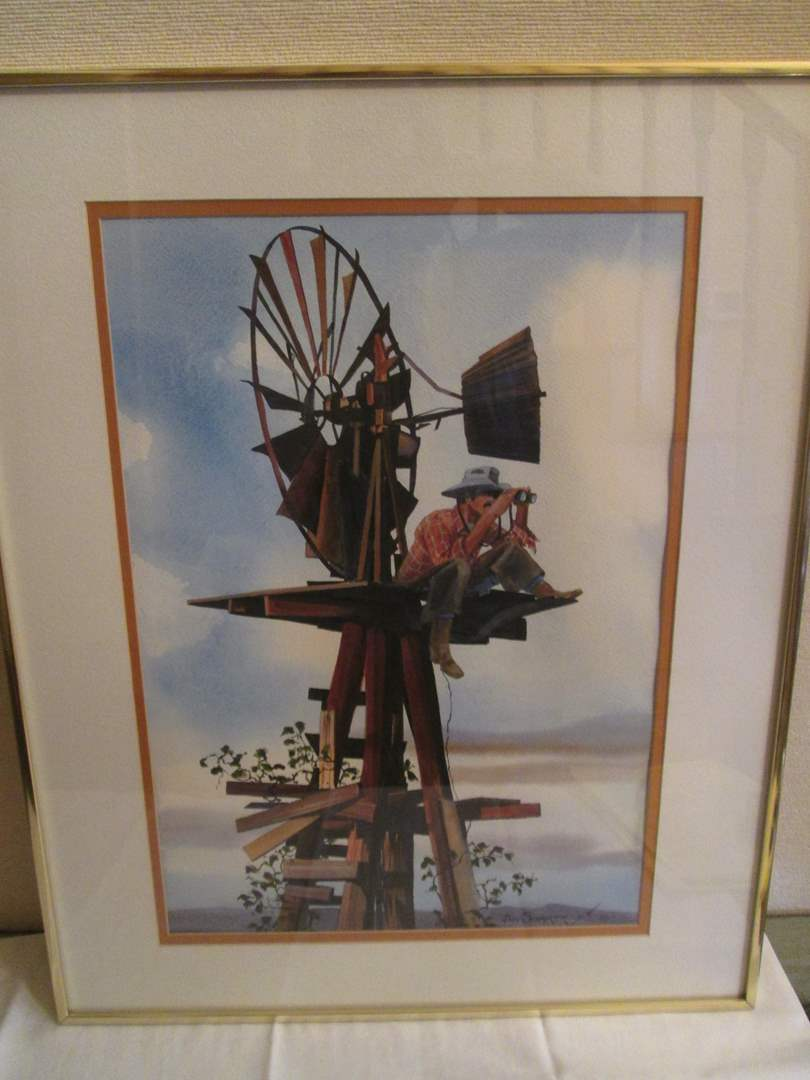 "Lot # 336 - Watercolor ""Scopin The Herd"" by Schairer (main image)"