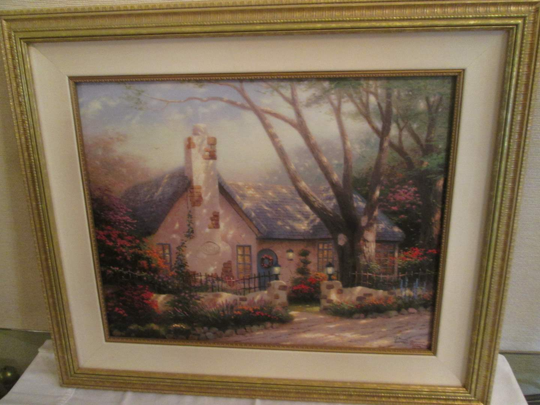 """Lot # 341 - """"Morning Glory Cottage"""" by Thomas Kinkade (main image)"""