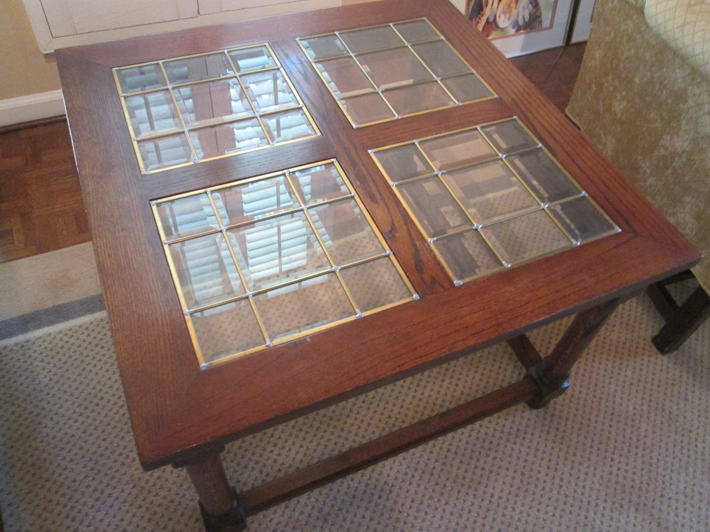 Lot # 308 - End Table, Wood with Glass Inserts (main image)
