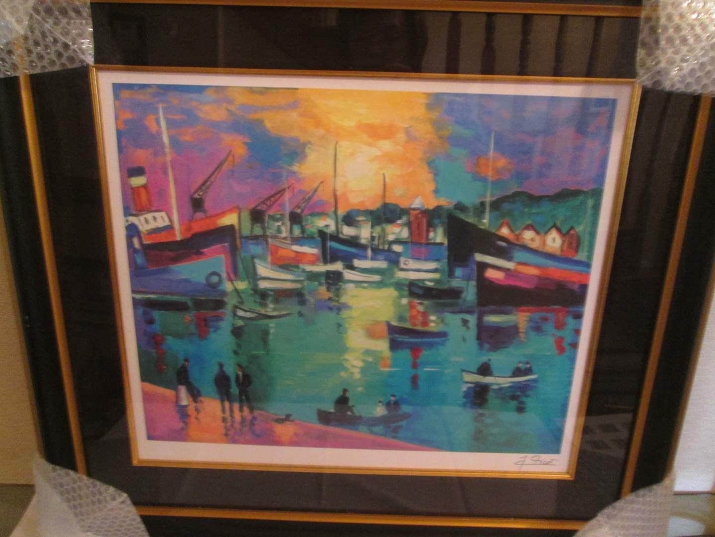 Lot # 342 - Framed Harbor Scene by Jean-Claude Picot (main image)