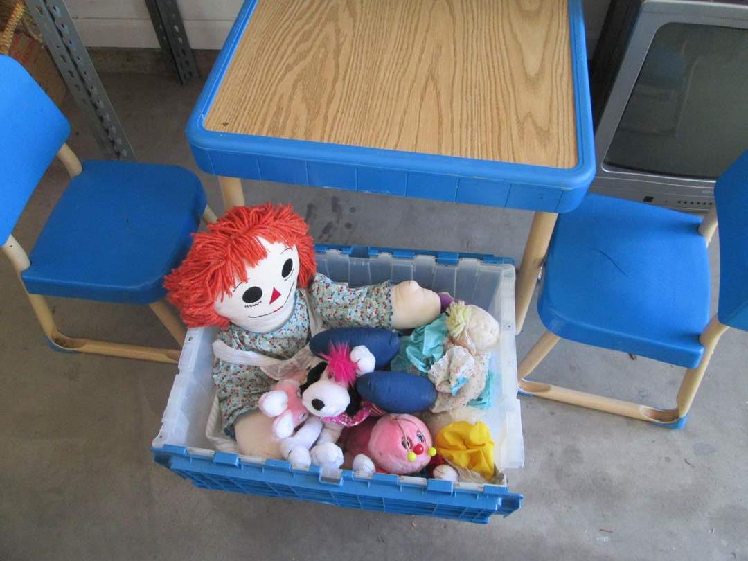Lot # 133 - Kiddie Table & 2-Chairs + Stuffed Animals (main image)