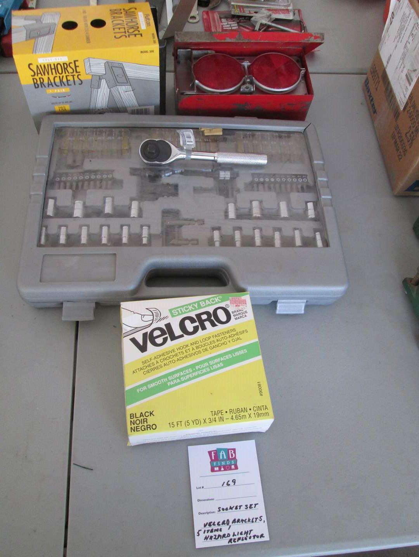 Lot # 169 - Socket Set, Brackets, Hazard Reflectors & Velcro (main image)