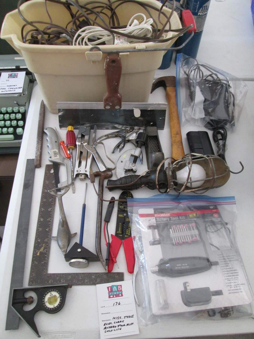 Lot # 176 - Misc. Tools, Shop Light, Rotary Tool Kit, Electric Cords (main image)