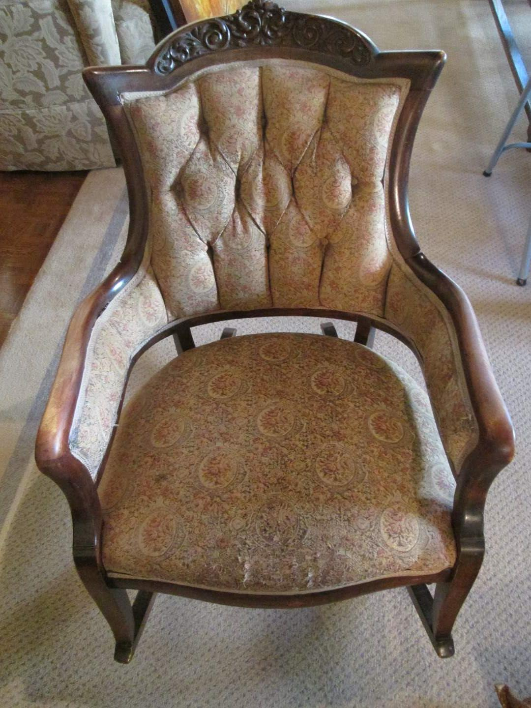 Lot # 309 - Upholstered & Button-Tufted Rocking Chair, C-Late 1800's (main image)