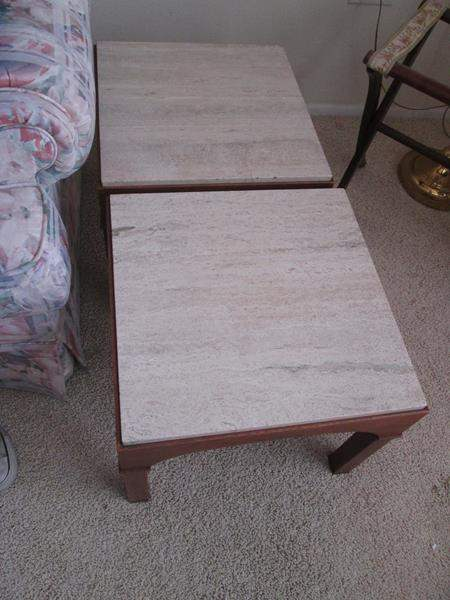 """Lot # 12 - 2-18"""" Square Marble Top Tables (main image)"""