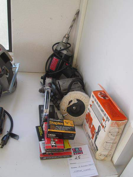 Lot # 25 - 2-Electric Drills, Stapler & Clamps (main image)