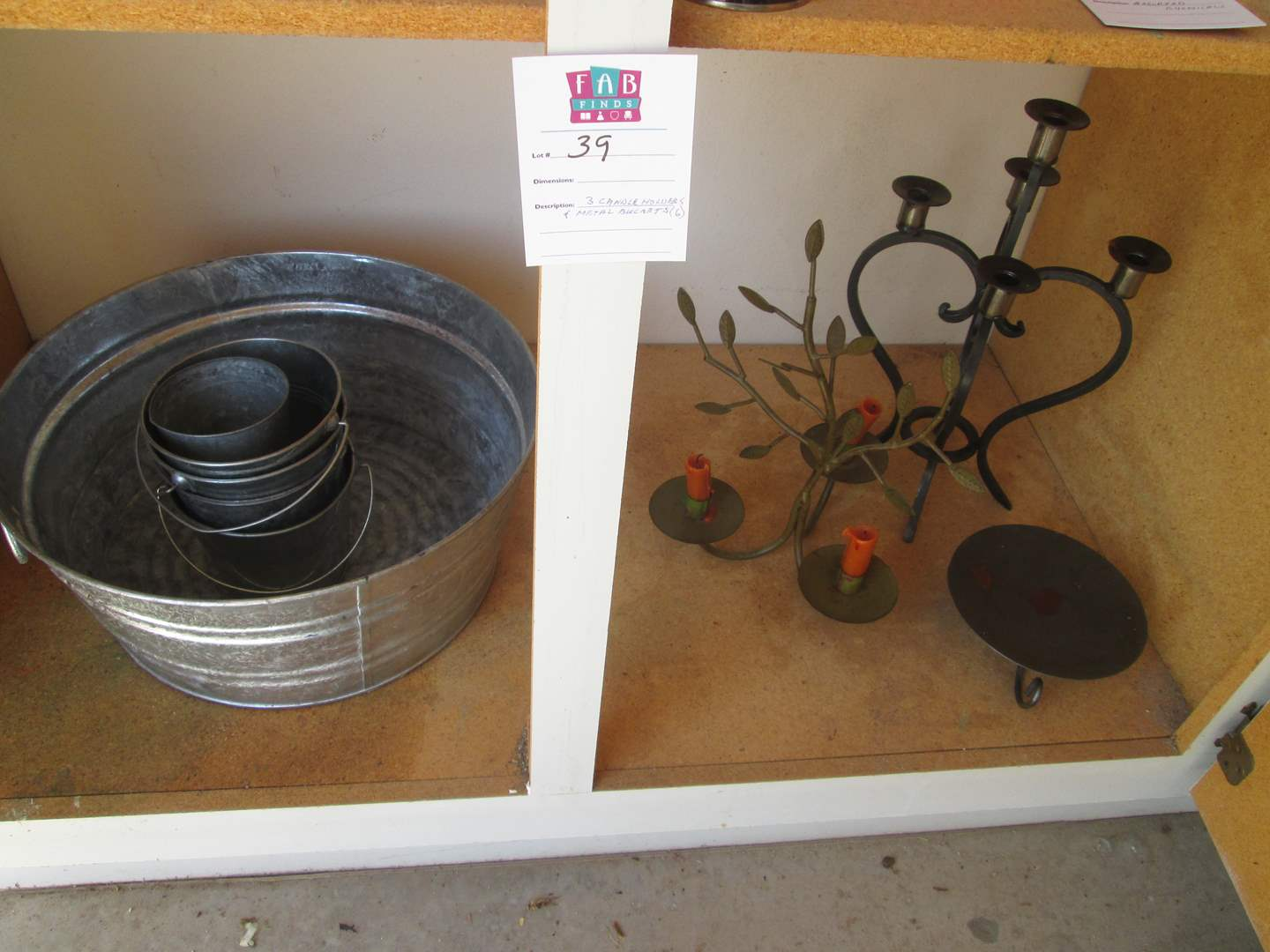 Lot # 39 - Metal Buckets & Candle Holders (main image)