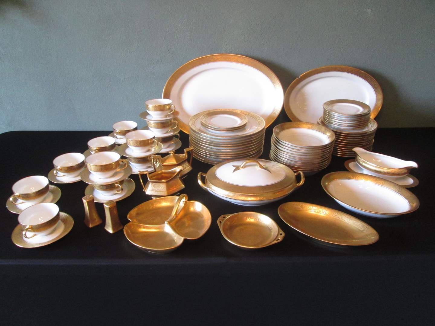 """Lot # 53 - 110-Piece Encrusted """"Hutschenreuther"""" China HUT230 (main image)"""