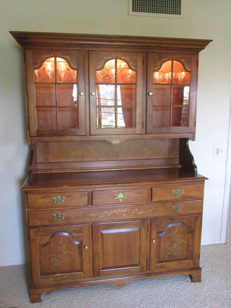 """Lot # 54 - 54"""" Embellished Colonial Hutch/Sideboard, Lighted (main image)"""