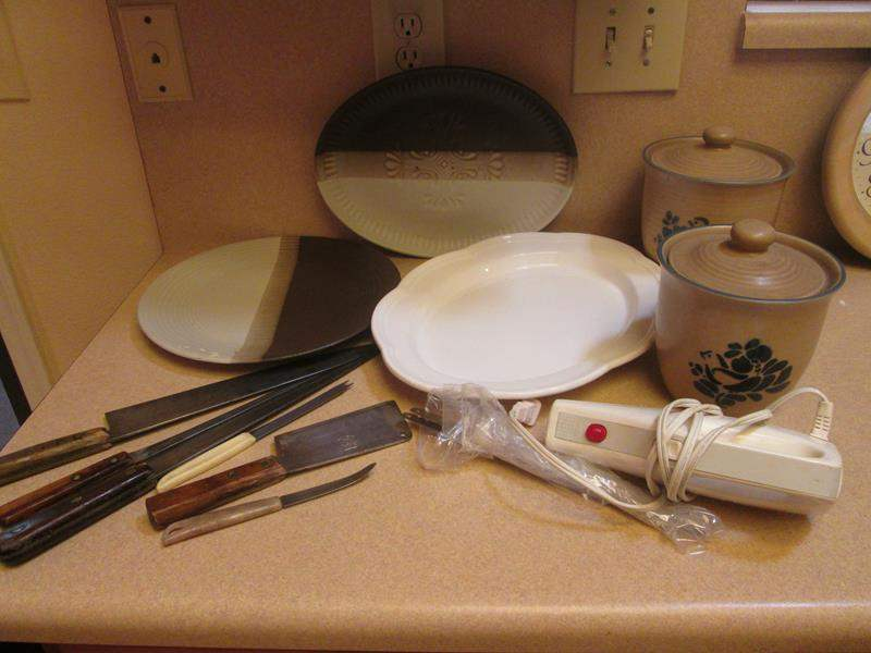 Lot # 85 - Electric Knife, Serving Platters, Ceramic Canisters & Knives (main image)