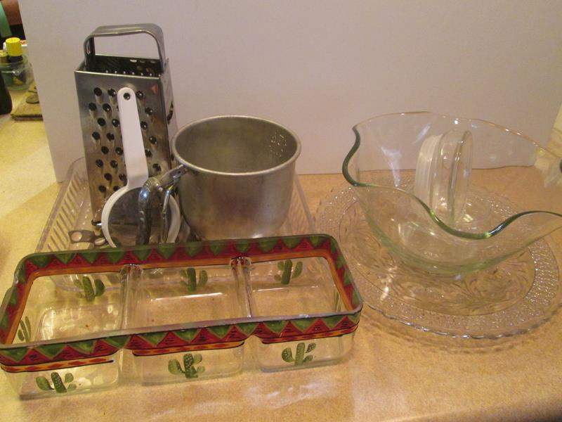 Lot # 90 - Glass Serving Pieces, Grater & Sifter (main image)