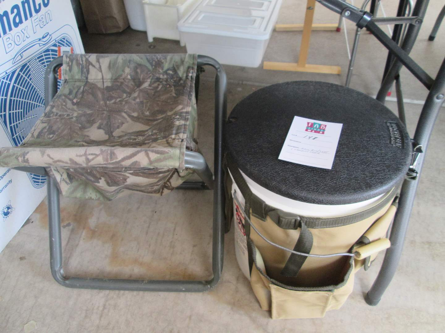 Lot # 148 - Tool Bin/Stool & Camp Chair (main image)