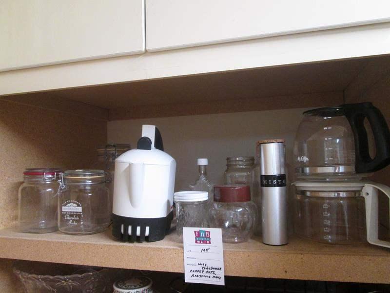 Lot # 165 - Glass Jars, Coffee Pots, Roasting Pan ++ (main image)
