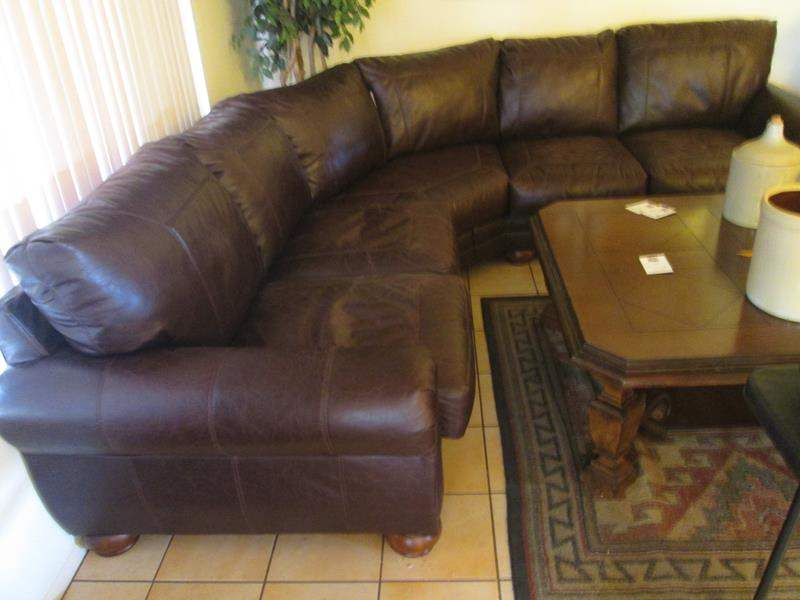 Lot # 169 - Leather Sectional, Nail Tack Detail (main image)