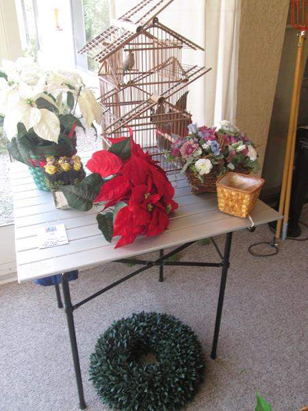 Lot # 196 - Folding Table, Florals & Birdcage (main image)