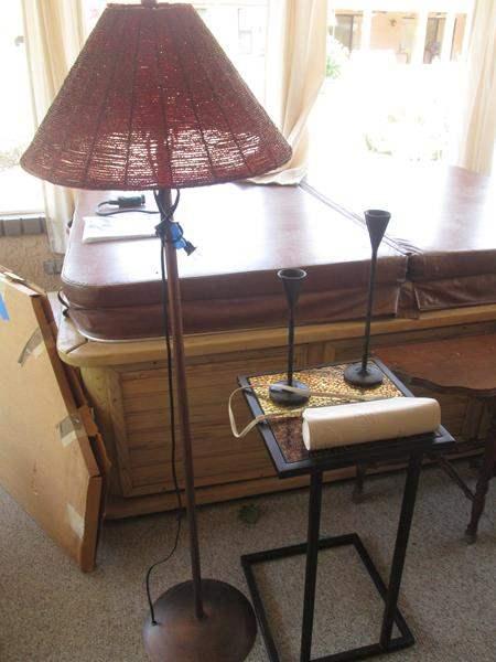 Lot # 202 - Mosaic Table, 2 Candlesticks, Lamp & Purse (main image)