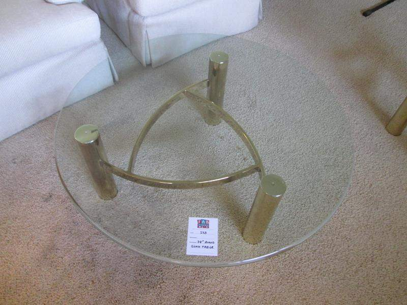 """Lot # 223 - 38"""" Round Glass Table (main image)"""