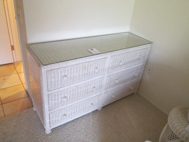 Lot # 251 - White Wicker Dresser, Glass Top (main image)