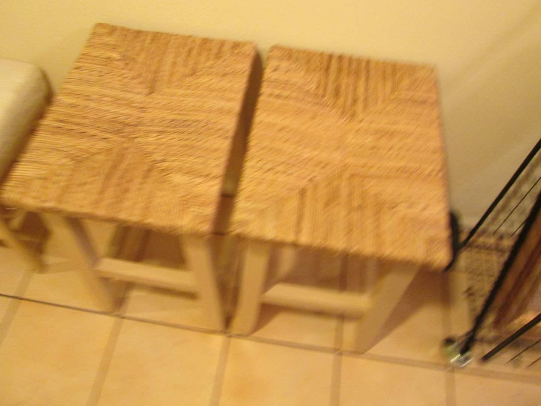 Lot # 279 - 2-Wood Stools with Rush Seats (main image)