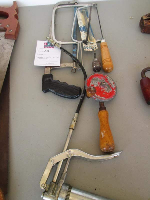Lot # 70 - 3-Saws, Oil Can & Drill (main image)