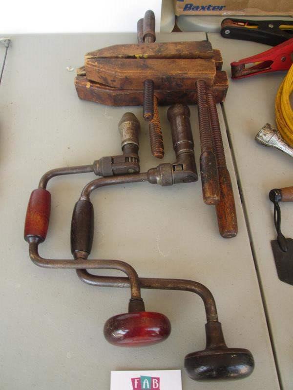 Lot # 71 - 2-Wood Clamps & Manual Drills (main image)
